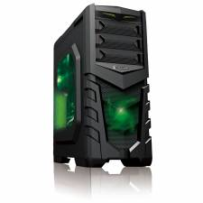 CIT Vanquish Green Midi Black Interior Gaming Case USB3.0 Toolless Windowed Case