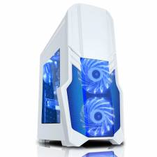 CIT G Force White Midi Gaming Case With Blue LED Fans, USB2 & USB 3