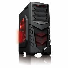 CIT Vanquish Red Midi Black Interior Gaming Case USB3.0 Toolless Windowed Case