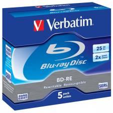 Verbatim 43615 Blu-ray Rewriteable 25GB 2x Speed Media 5pack Jewel Cased